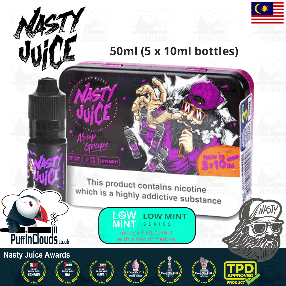 Nasty Juice ASAP Grape E-Liquid (Low Mint) - Grape & Mixed Berry eJuice with a hint of mint