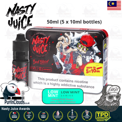 Nasty Juice Bad Blood E-Liquid (Low Mint) - Blackcurrant eJuice with just a hint of mint