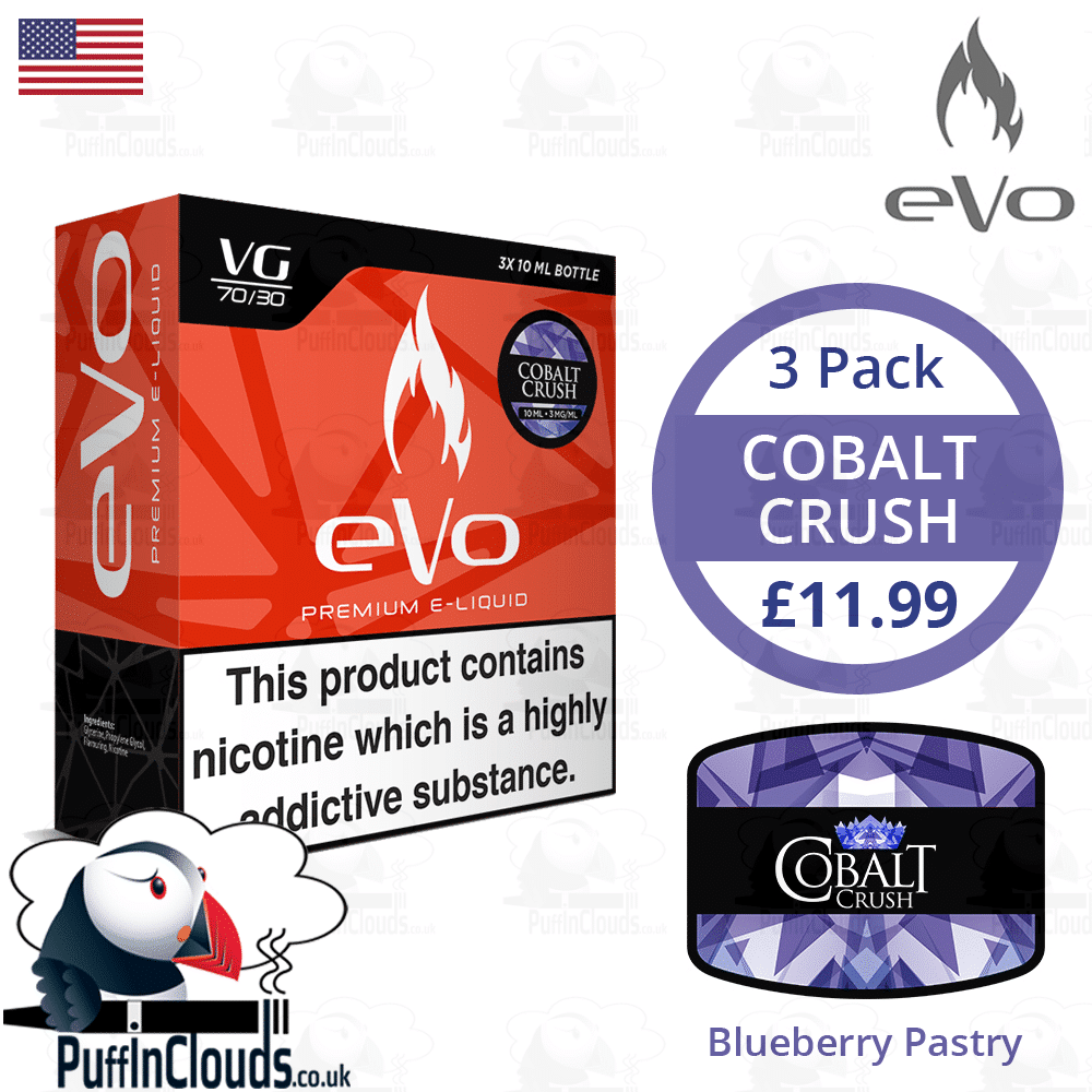 eVo Cobalt Crush - Blueberry Pastry E-Liquid | Puffin Clouds UK
