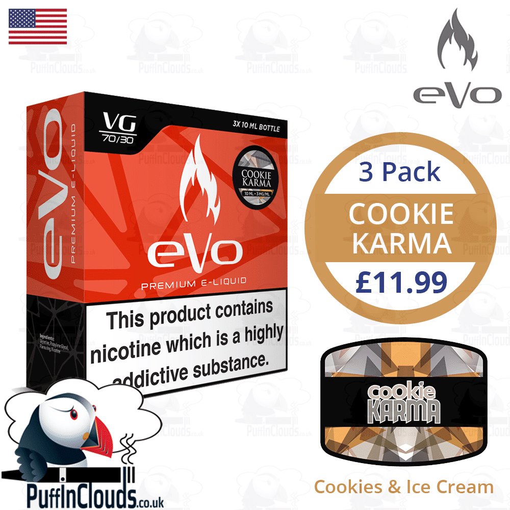 eVo Cookie Karma - Cookies & Cream E-Liquid | Puffin Clouds UK