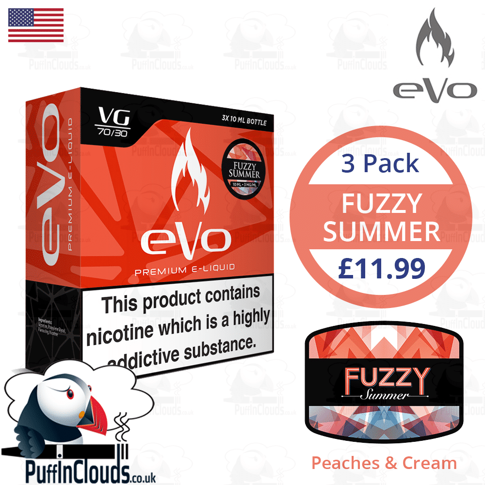 eVo Fuzzy Summer E-Liquid - Peaches & Cream E-Liquid | Puffin Clouds UK