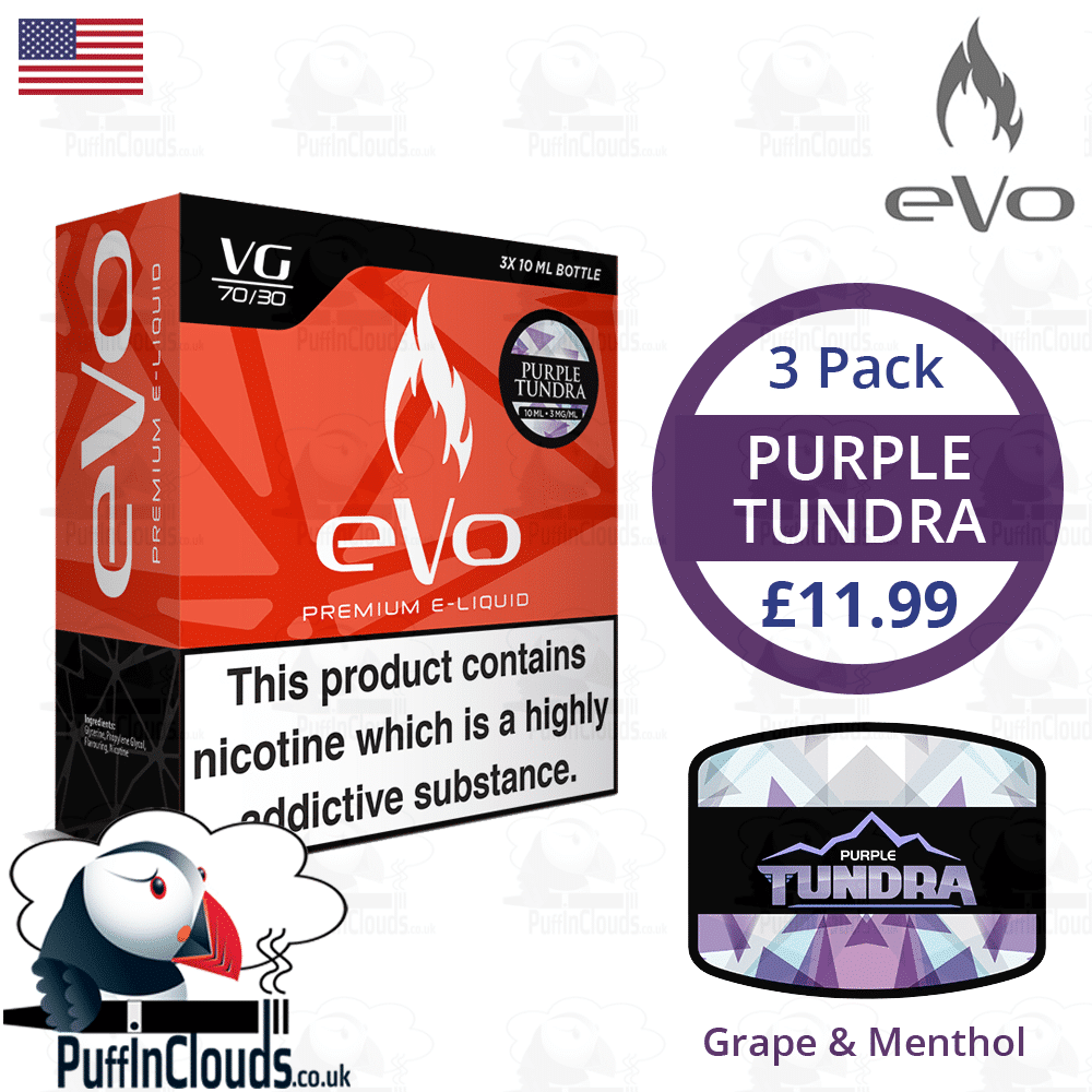 eVo Purple Tundra E-Liquid - Grape & Menthol E-Liquid | Puffin Clouds UK
