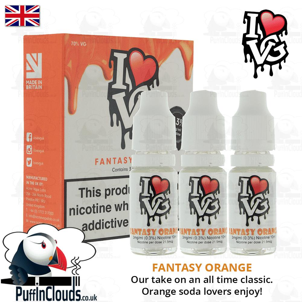 I Love VG Fantasy Orange E-Liquid   Puffin Clouds UK