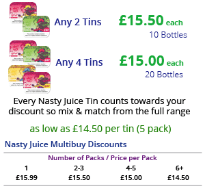 Nasty Juice E-Liquid Multibuy Discounts | Puffin Clouds UK