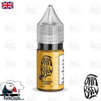 Ohm Brew Passionfruit and Mango Nic Salt E-Liquid 50/50 | Puffin Clouds UK