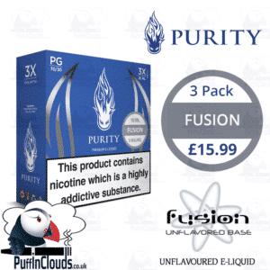 Purity Fusion E-Liquid - Unflavoured E-Liquid (3 Pack) | Puffin Clouds UK