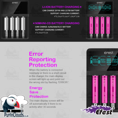 Efest LUC V4 Elite Vaping Battery Charger | Puffin Clouds UK