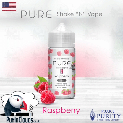 P.U.R.E Raspberry Shake n Vape E-Liquid (50ml 0mg) | Puffin Clouds UK
