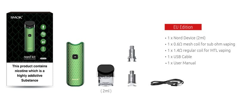 SMOK Nord Pod Kit (UK Edition) - Contents  | Puffin Clouds UK