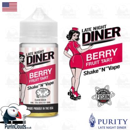 Late Night Diner Berry Fruit Tart Shake n Vape E-Liquid (50ml 0mg) | Puffin Clouds UK