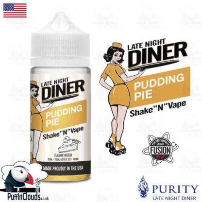 Late Night Diner Pudding Pie Shake n Vape E-Liquid (50ml 0mg) | Puffin Clouds UK