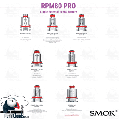 SMOK RPM80 Coil Selection | Puffin Clouds UK