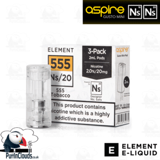 Element 555 Tobacco Gusto Mini Pods NS10 & NS20 | Puffin Clouds UK