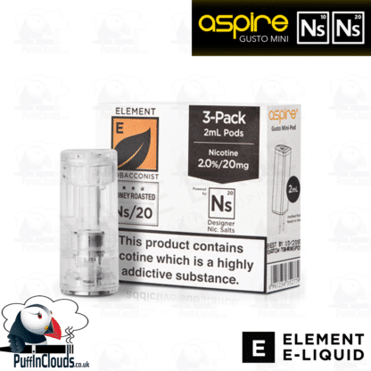Element Honey Roasted Tobacco Gusto Mini Pods NS10 & NS20 | Puffin Clouds UK