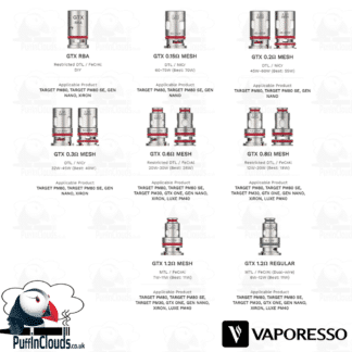 Vaporesso GTX Coils (5 Pack) - Puffin Clouds UK