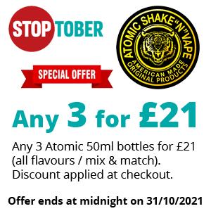 Stoptober - Atomic 50ml 3 for £21 | Puffin Clouds UK