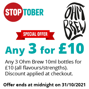 Stoptober - Ohm Brew 10ml 3 for £10 | Puffin Clouds UK