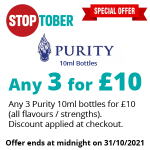 Stoptober - Purity 10ml Bottlea 3 for £10 | Puffin Clouds UK