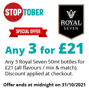 Stoptober - Royal Seven 50ml 3 for £21 | Puffin Clouds UK