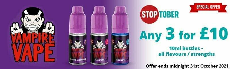 Stoptober 2021 - Vampire Vape 10ml - 3 for £10   Puffin Clouds UK